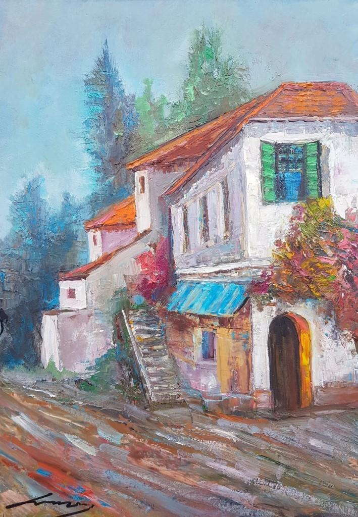 Kuća, ulje na platnu, 50×70 cm, Ivan Vanja Milanovic. sertifikat, 150 eura