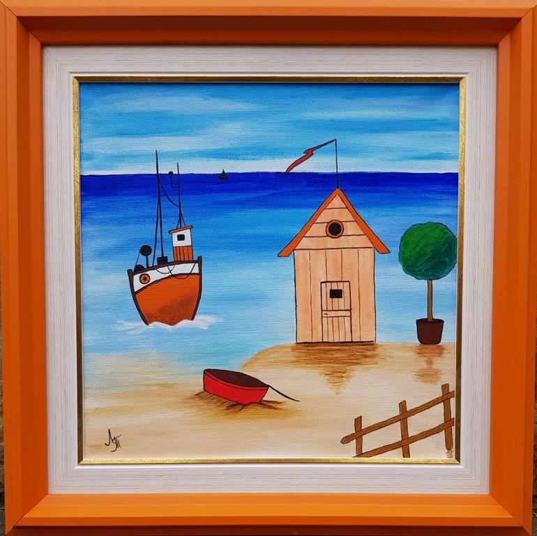 Narandzasti brod, akril na platnu, sa 41×41 cm, bez 30×30 cm, Tijana L., sertifikat, 50 eura
