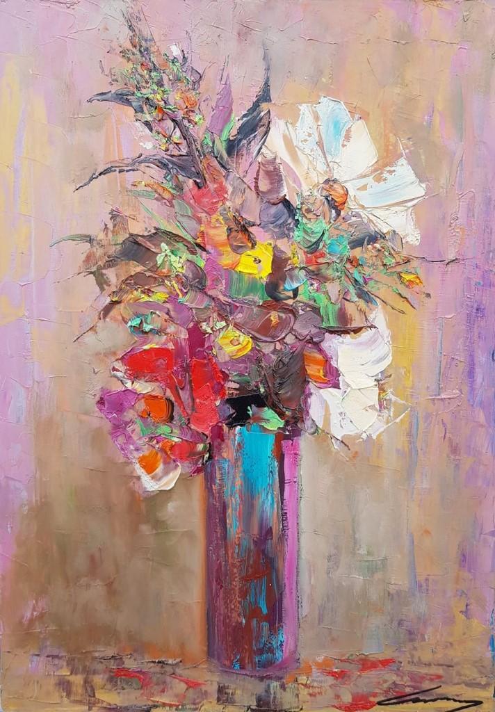 Vaza sa cvećem, ulje na platnu, 50×70 cm, Ivan Vanja Milanovic. sertifikat, 150 eura