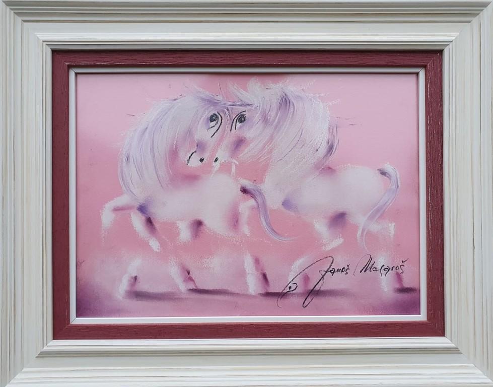Ružičasta čarolija, pastel, luksuzno uramljen, sa 41×51 cm, bez 25×35 cm, sertifikat, Janos Mesaros, 150 eura