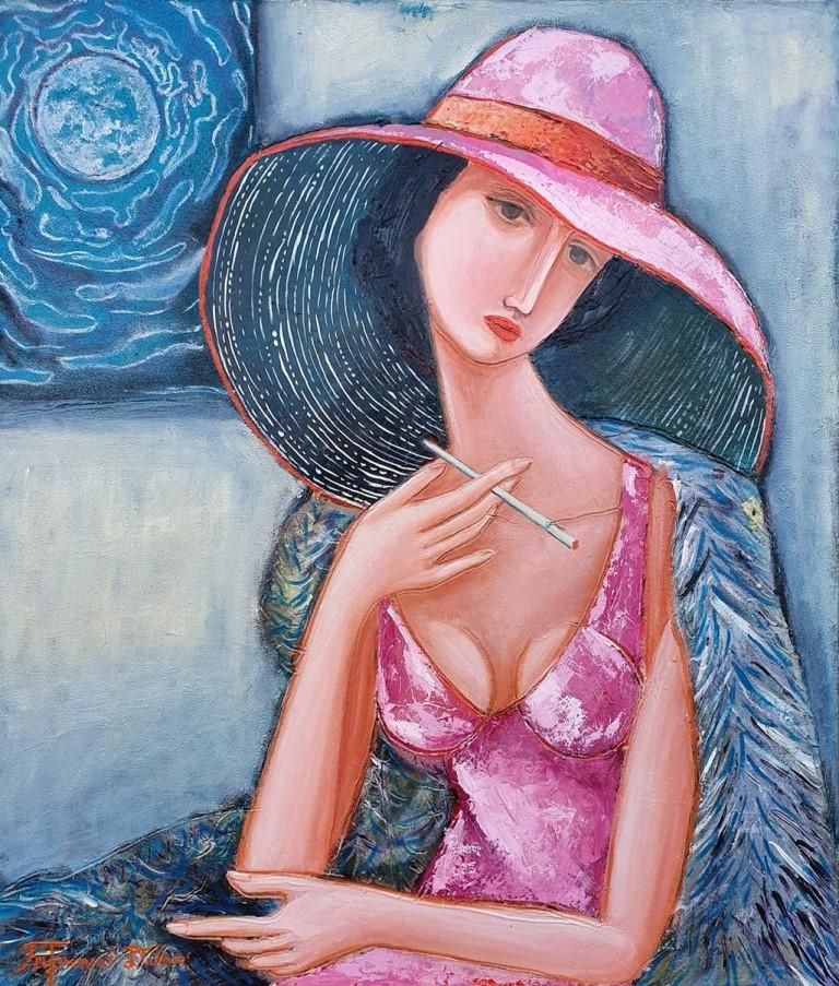 Dama sa cigaretom, Dusko Trifunovic, 70×60 cm, ulje na platnu, sertifikat, 330 eura