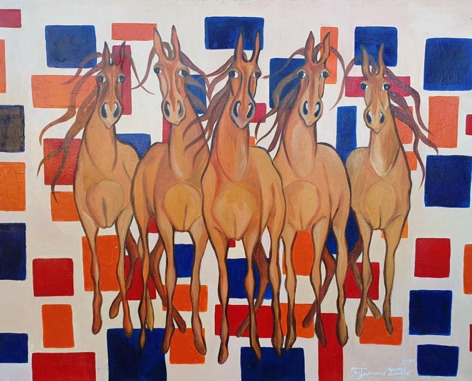 Konji, Dusko Trifunovic, 80×100 cm, ulje na platnu, sertifikat, 500 eura