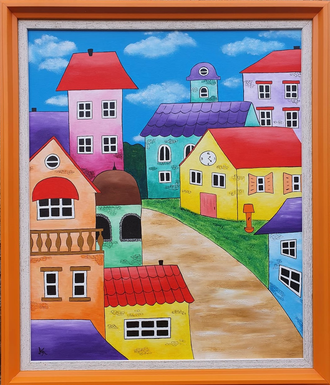 Ulica na brdu, akril na platnu, sa 70×60 cm, bez 60×50 cm, Tijana L., sertifikat, 140 eura