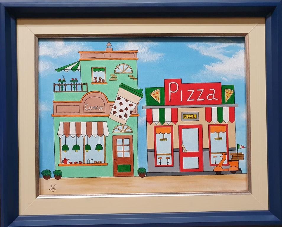 Coffe & pizza, akril na platnu, sa 41×51 cm, bez 30×40 cm, Tijana L. , sertifikat, 60 eura