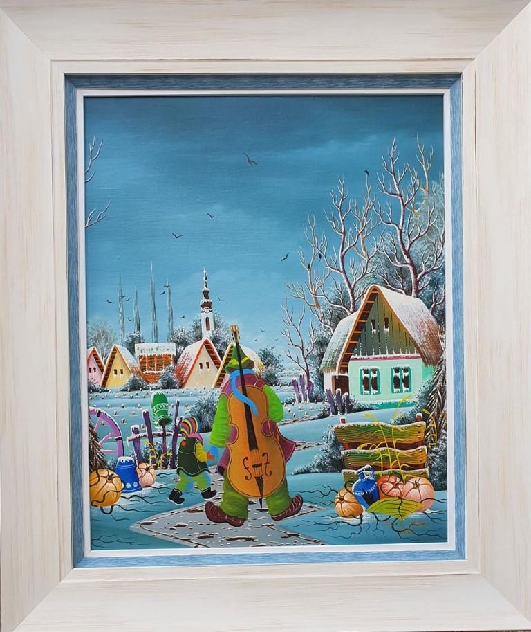 Muzičar, Pavel Cicka, Naiva Kovačica, ulje na platnu kaširano na lesonit, uramljena, sa 66×56 cm, bez 50×40 cm, sertifikat, 600 eura