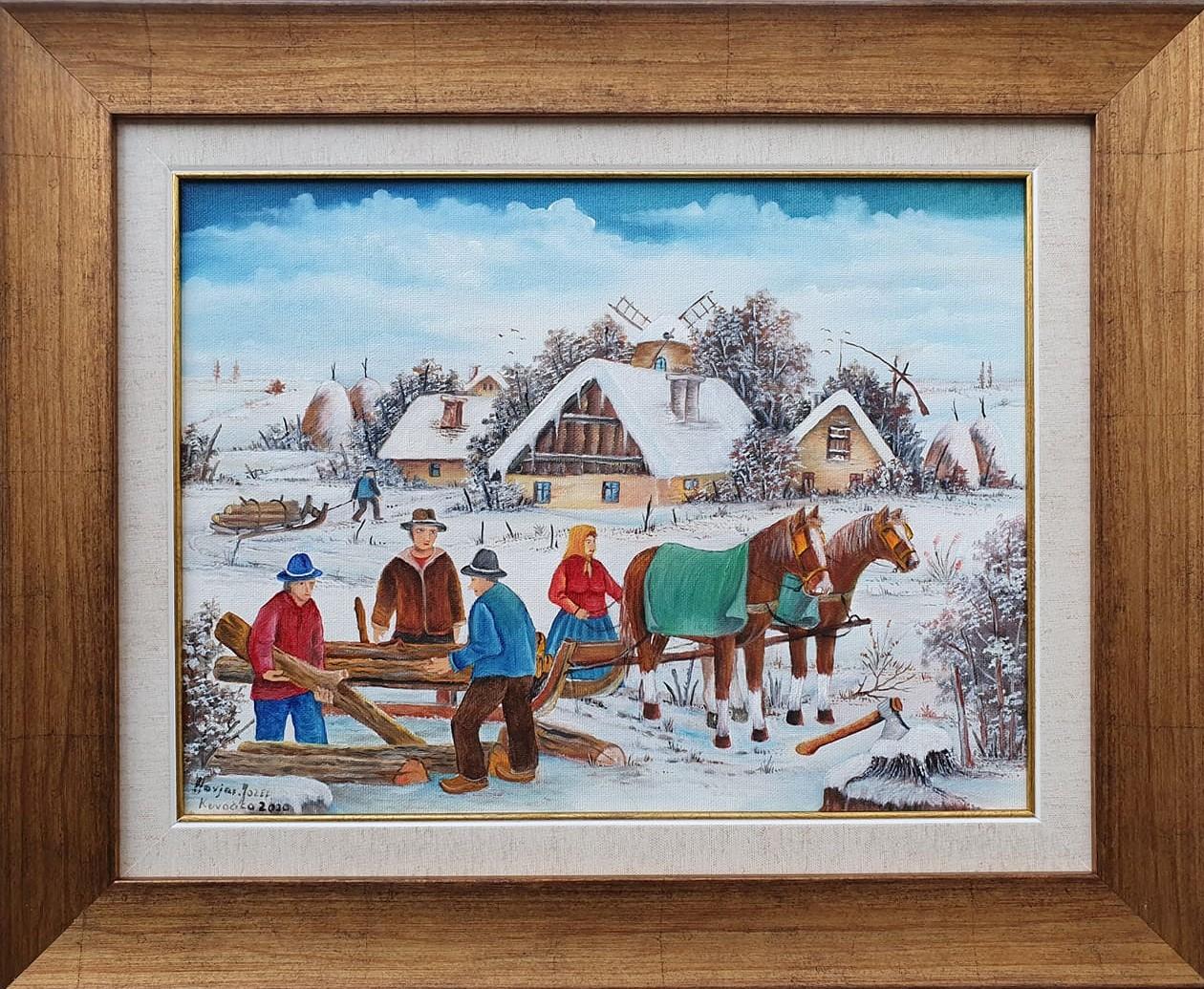 Sečenje drva, Jozef Havjar, Naiva Kovačica, ulje na platnu, uramljena, sa 46×56 cm, bez 30×40 cm, sertifikat, 350 eura