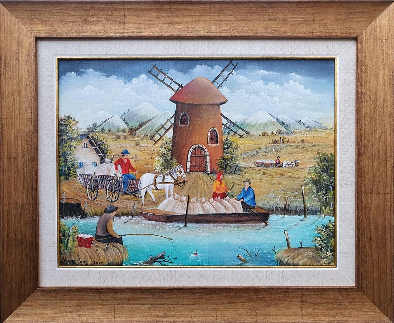 Vetrenjača, Jozef Havjar, Naiva Kovačica, ulje na platnu, uramljena, sa 46×56 cm, bez 30×40 cm, sertifikat, 350 eura