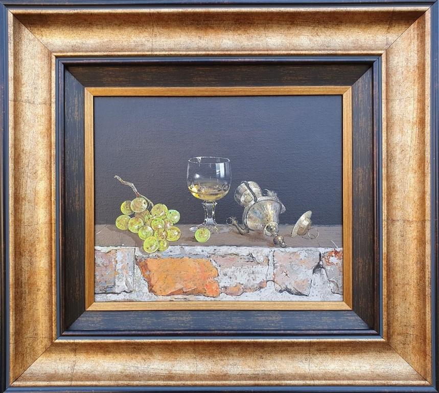 Čaša i kandilo, Milan Miletic, sa 44×49 cm, bez 25×30 cm. ulje na platnu, sertifikat, 2021., 500 evra