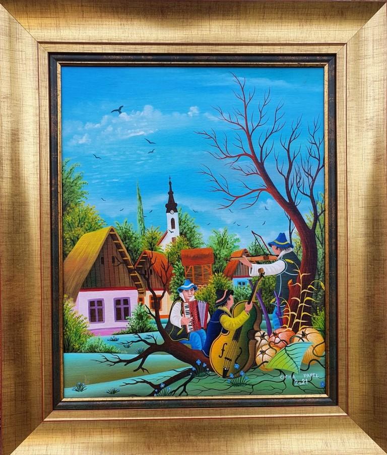 Muzičari 2, Pavel Cicka, Naiva Kovačica, ulje na platnu kaširano na lesonit, uramljena, sa 66×56 cm, bez 50×40 cm, sertifikat, 600 eura