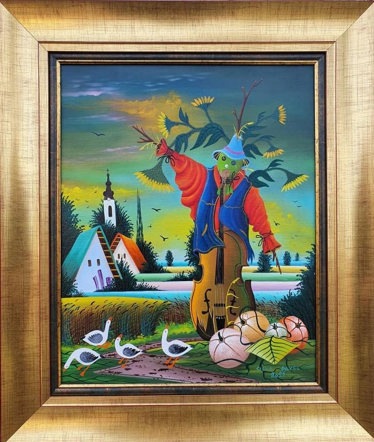 Strašilo 1, Pavel Cicka, Naiva Kovačica, ulje na platnu kaširano na lesonit, uramljena, sa 66×56 cm, bez 50×40 cm, sertifikat, 600 eura