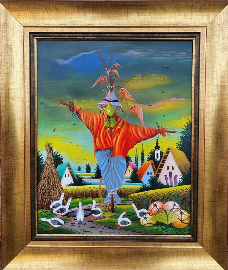Strašilo 2, Pavel Cicka, Naiva Kovačica, ulje na platnu kaširano na lesonit, uramljena, sa 66×56 cm, bez 50×40 cm, sertifikat, 600 eura