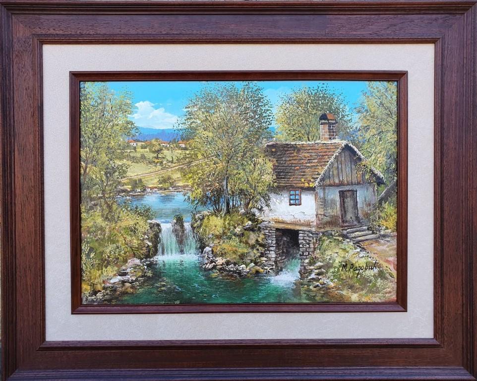 Vodenica kraj potoka, ulje na platnu, luksuzno uramljena, sa 63×79 cm, bez 38×54 cm, sertifikat, Miroslav Radovic, 200 eura