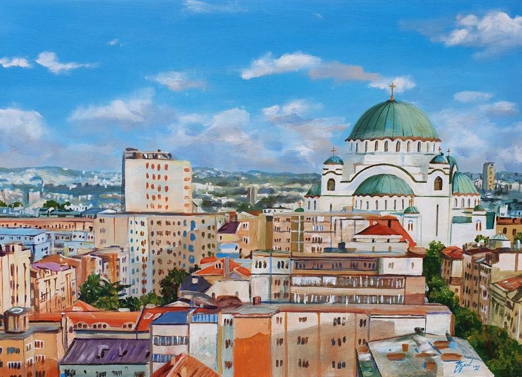 Hram Svetog Save 2, Marija Djukic, ulje na platnu, 50×70 cm, sertifikat, 220 eura