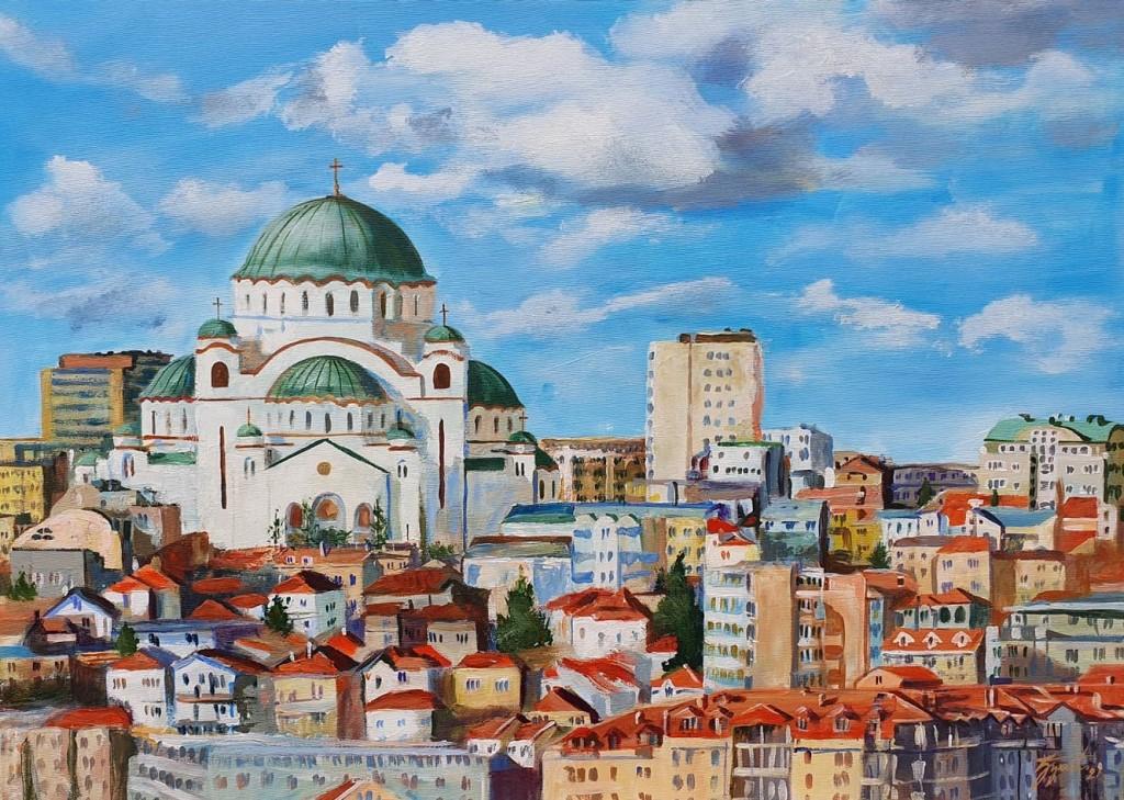 Hram Svetog Save 3, Marija Djukic, ulje na platnu, 50×70 cm, sertifikat, 220 eura