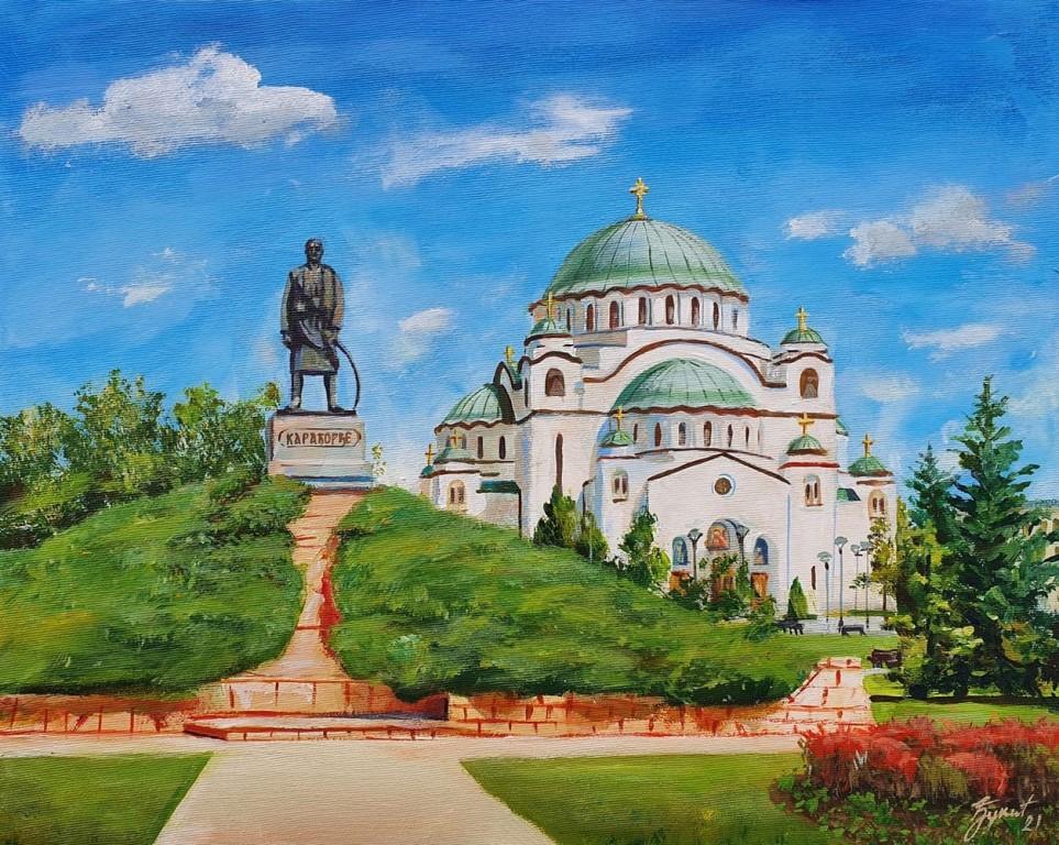 Hram Svetog Save 4, Marija Djukic, ulje na platnu, 50×40 cm, sertifikat, 110 eura