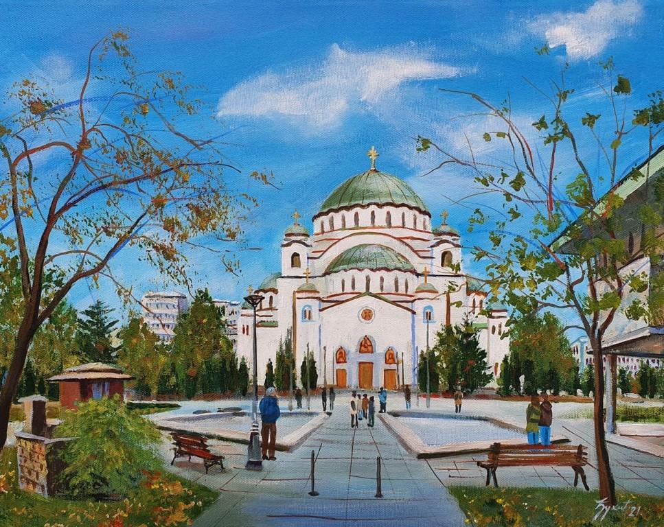 Hram Svetog Save 5, Marija Djukic, ulje na platnu, 50×40 cm, sertifikat, 110 eura