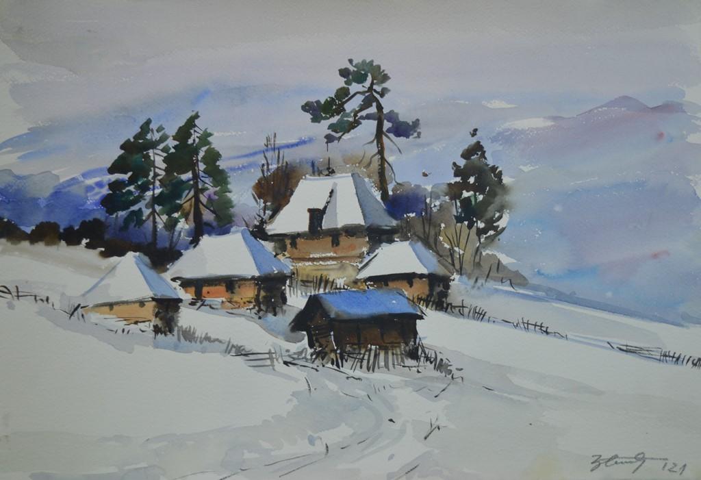 Zima na Zlatiboru, Đorđe Stanić, akvarel na papiru, 37×56 cm,  sertifikat, 100 eura