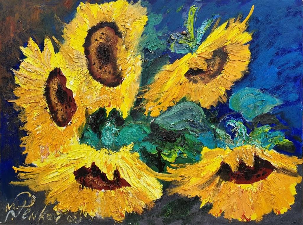 Suncokreti 3, ulje na platnu, 60×80 cm, akademski slikar M. Penkov, sertifikat, 300 eura