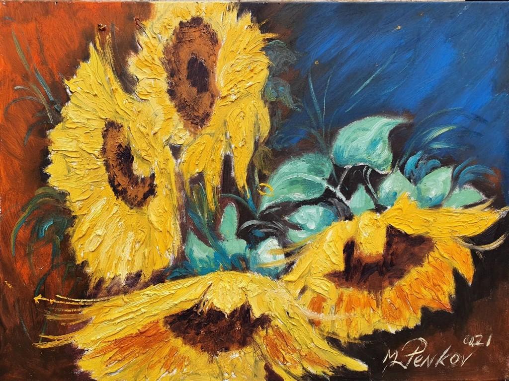 Suncokreti 4, ulje na platnu, 60×80 cm, akademski slikar M. Penkov, sertifikat, 300 eura