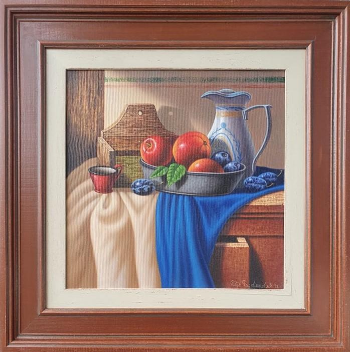 Kompozicija sa voćem, ulje na platnu, sa 59×59 cm, bez 39×39 cm, Predrag Pedja Radovanovic, sertifikat, lux uramljena, 290 eura