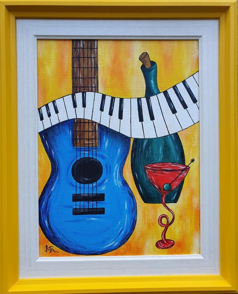Muzika III, akril na platnu, sa 51×41 cm, bez 40×30 cm, Tijana L. , sertifikat, 60 eura