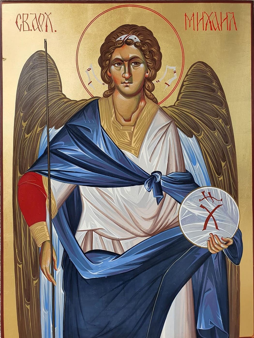 Sveti Arhangel Mihailo, ikona, 40×30 cm, jajcana tempera na medijapanu sa pozlatom, vizantijski stil po pravoslavnim kanonima, ikonopisac Nikola Timotijevic, sertifikat, 190 eura
