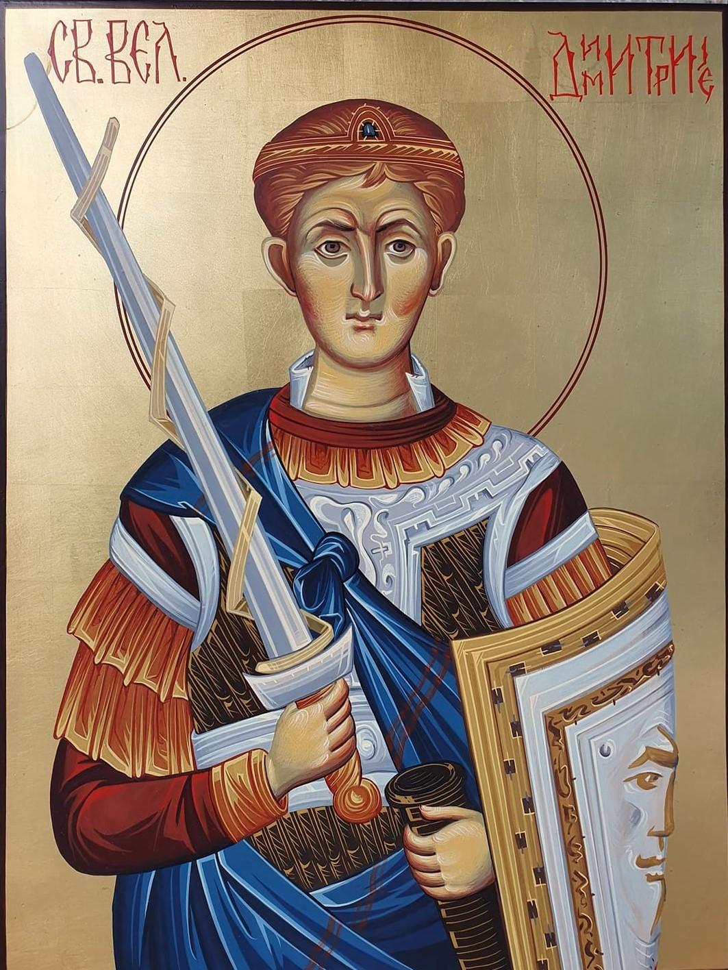 Sveti Dimitrije, ikona, 40×30 cm, jajcana tempera na medijapanu sa pozlatom, vizantijski stil po pravoslavnim kanonima, ikonopisac Nikola Timotijevic, sertifikat, 190 eura